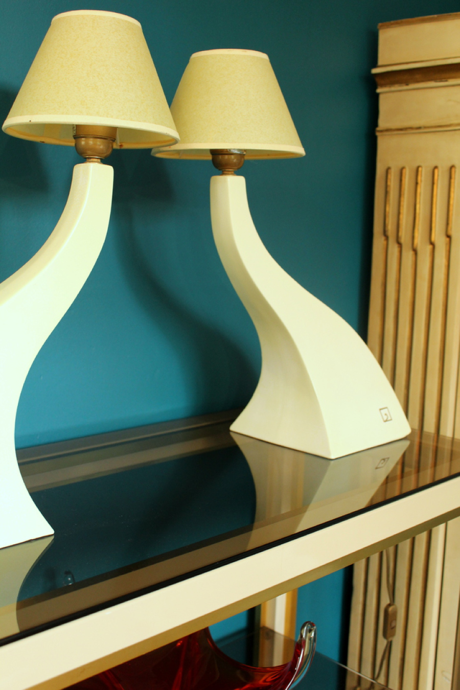 Brookhouse Vintage Yellow Curved Table Lamps Louis Drimmer
